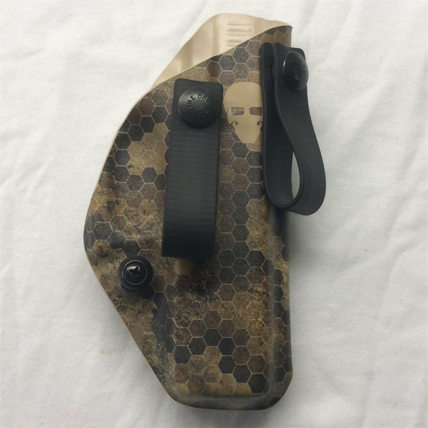 Custom Kydex Inside the Waistband (IWB) Holster - Front - HexCam Wasteland