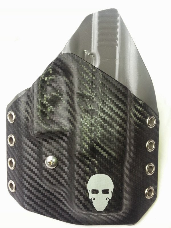 Custom Kydex Outside the Waistband (OWB) Holster - Front - Black Carbon Fiber