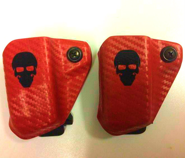 Custom Kydex Mag Carrier - Outside the Waistband (OWB) - Front - Red Carbon Fiber