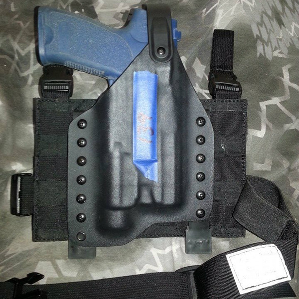Custom Kydex Drop Leg Holster - Black w/Black Panel