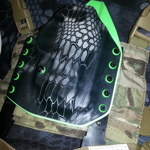 Custom Kydex Drop Leg Holster - Kryptek Typhon w/Multicam Panel