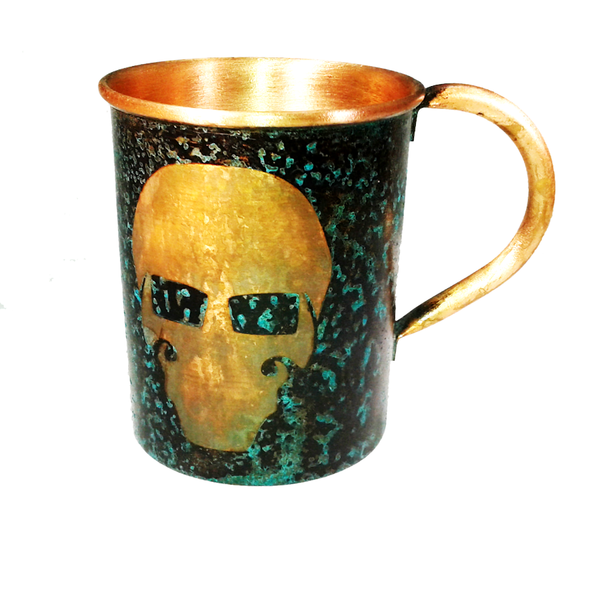 Forced Patina Finish Mugs - GFT Garry Logo - Handmade in the USA by SouthPaw Knots - Front View