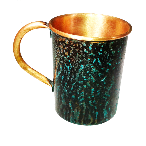 Forced Patina Finish Mugs - GFT Garry Logo - Handmade in the USA by SouthPaw Knots - Back View