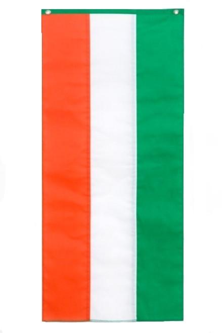 "Irish Nylon Pull Down Banner - Green/White/Orange - 18"" x 12'"