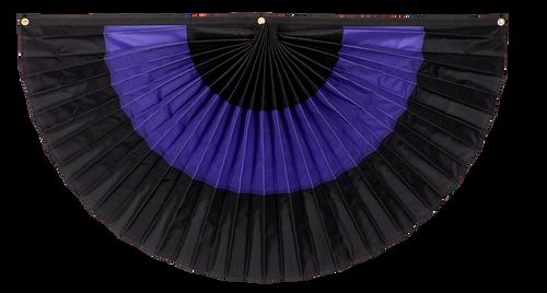 "Mourning Nylon Flag Bunting - Black/Purple/Black - 12"" x 24"""