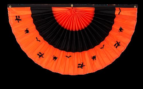 "Halloween Nylon Pleated Fan - Orange/Black/Orange with Embroidery- 24"" x 48"""