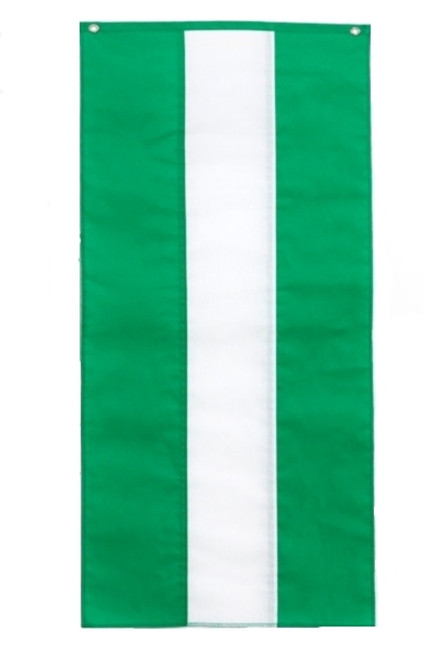 "Irish Nylon Pull Down Banner - Green/White/Green - 18"" x 12'"