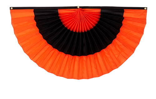 "Halloween Cotton Pleated Fan - Orange/Black/Orange - 18"" x 36"""