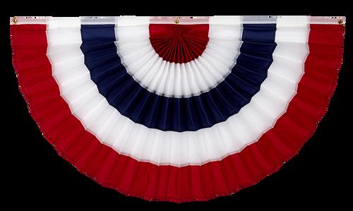 "USA Nylon Flag Bunting - Red/White/Blue/White/Red - 12"" x 24"""