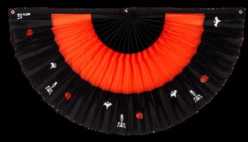 "Halloween Nylon Pleated Fan - Black/Orange/Black with Embroidery- 24"" x 48"""