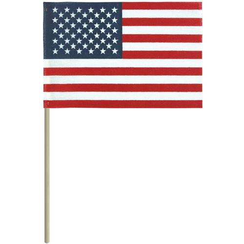 "U.S. Stick Flag - No-Fray no Tip - 8"" x 12"" - Sold by the Dozen"