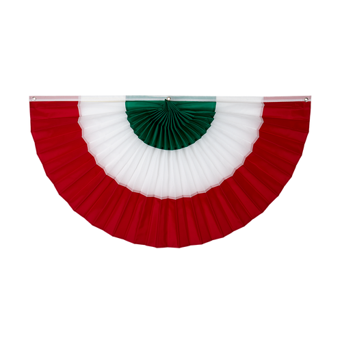 "Italy Nylon Flag Bunting - Green/White/Red - 24"" x 48"""