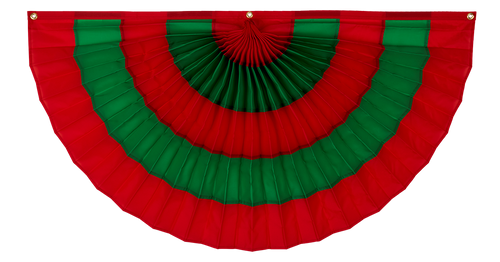 "Christmas Nylon Pleated Fan - Red/Green/Red/Green/Red - 36""  x 72"""