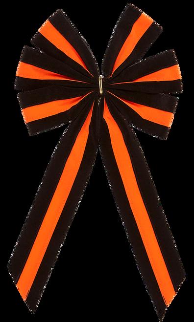 Halloween Bows - Black/Orange/Black Bow & Black/Orange/Black Tail - 6 Loop