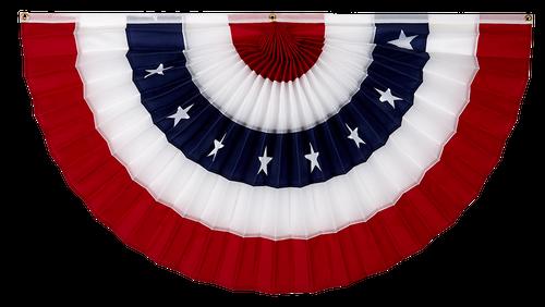 "USA Nylon Flag Bunting - Red/White/Stars/White/Red - 12"" x 24"""