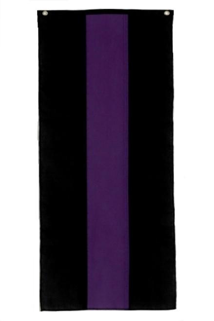 "Memorial Cotton Pull Down Banner - Black/Purple/Black - 18"" x 8'"