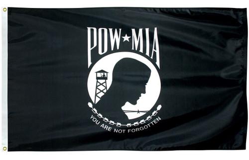 U.S. POW-MIA Flag - Single Face - Nylon - 1 x 1 1/2'