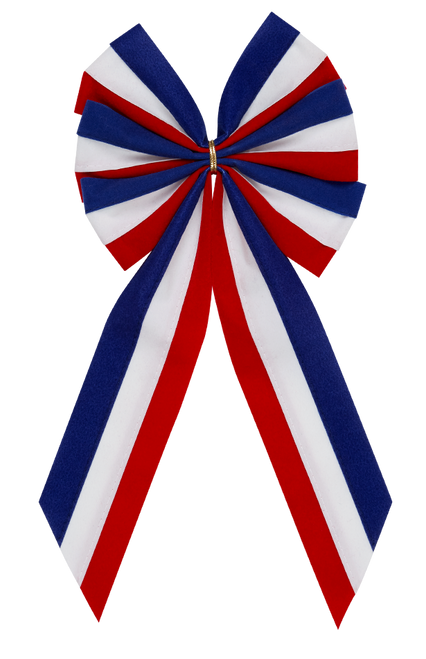 Patriotic Bow-Red/White/Blue Bow & Red/White/Blue Tail - 6 Loop - Regular Size