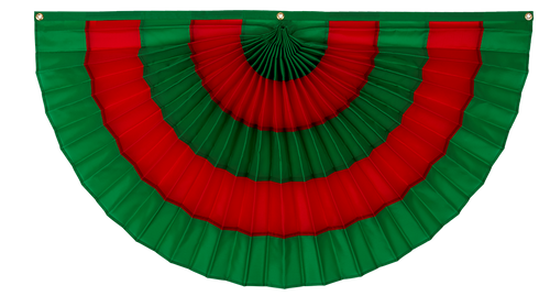 "Christmas Nylon Pleated Fan - Green/Red/Green/Red/Green - 24""  x 48"""