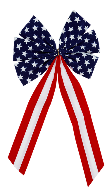 Patriotic Bow-Star Bow & Red/White/Red Tail- 6 Loop - Regular Size