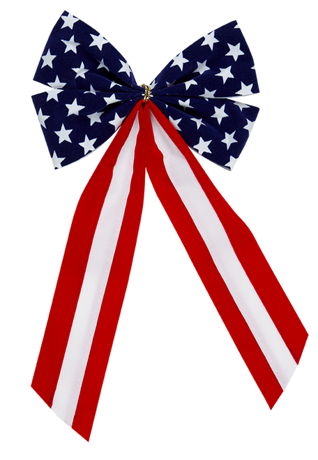 Patriotic Bow-Star Bow & Red/White/Red Tail - 4 Loop - Regular Size