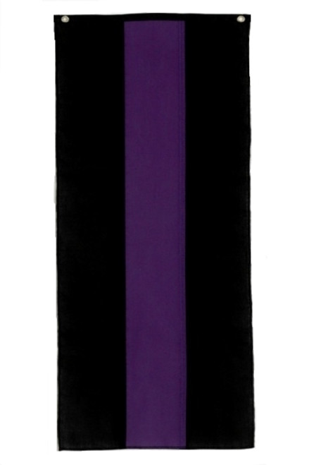 "Memorial Nylon Pull Down Banner - Black/Purple/Black - 18"" x 10'"