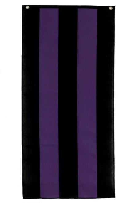 "Memorial Cotton Pull Down Banner - Black/Purple/Black/Purple/Black 18"" x 8'"