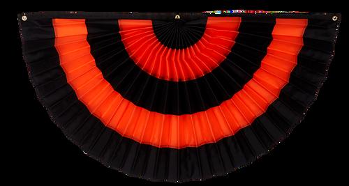 "Halloween Cotton Pleated Fan - Black/Orange/Black/Orange/Black - 18"" x 36"""