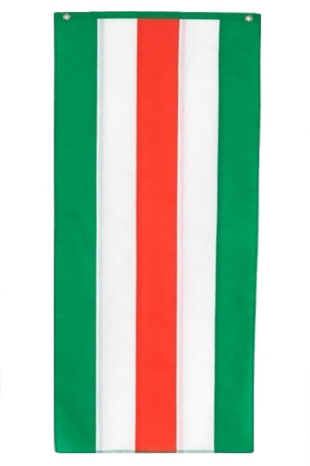 "Irish Nylon Pull Down Banner - Green/White/Orange/White/Green - 18"" x 12'"
