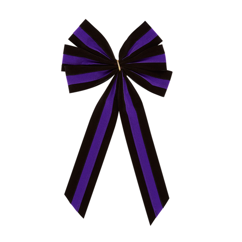 Mourning Funeral Bow - Black/Purple/Black Bow & Tail - 6 Loop - Regular Size