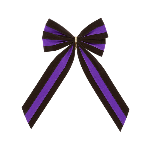 Mourning Funeral Bow - Black/Purple/Black Bow & Tail - 4 Loop - Regular Size