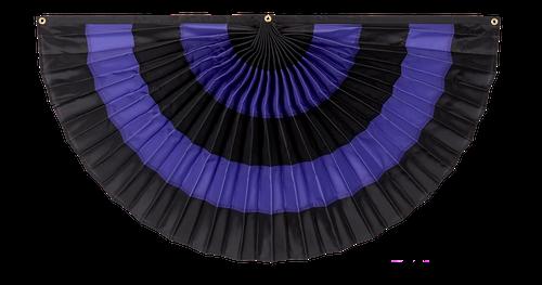 "Mourning Nylon Flag Bunting - Black/Purple/Black/Purple/Black - 36"" x 72"""