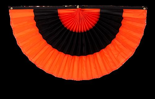 "Halloween Nylon Pleated Fan - Orange/Black/Orange - 24"" x 48"""