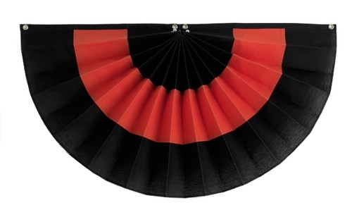 "Halloween Cotton Pleated Fan - Black/Orange/Black - 12"" x 24"""