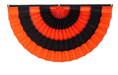 "Halloween Cotton Pleated Fan - Orange/Black/Orange/Black/Orange - 18"" x 36"""