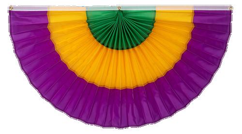 """Mardi Gras Nylon Flag Bunting - Green/Gold/Purple - 36"""" x 72"""""""
