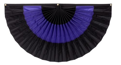 "Mourning Nylon Flag Bunting - Black/Purple/Black - 24"" x 48"""