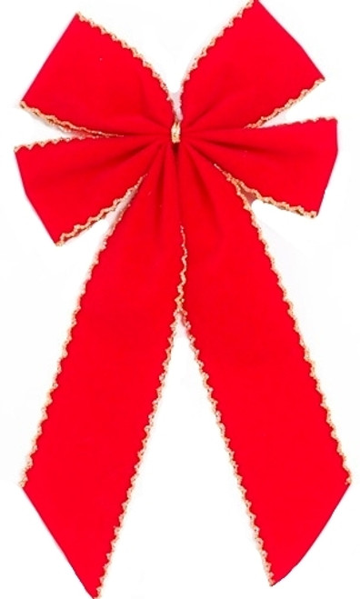 Red Christmas Bow - Crochet Edge - 4 Loop