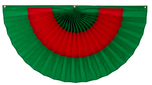 "Christmas Cotton Pleated Fan - Green/Red/Green - 12""  x 24"""
