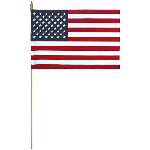 "U.S. Stick Flag - Cotton - 4"" x 6"" - Sold by the Dozen"