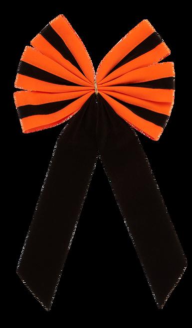Halloween Bows - Orange/Black/Orange Bow & Black Tail - 6 Loop