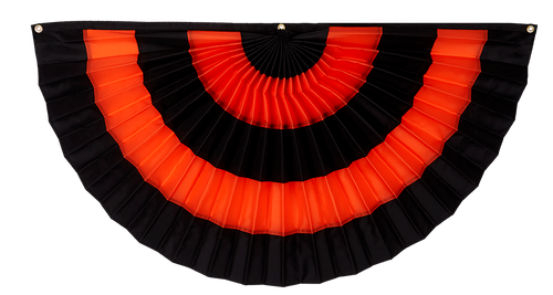 "Halloween Cotton Pleated Fan - Black/Orange/Black/Orange/Black - 12"" x 24"""