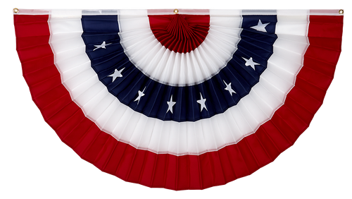 "USA Printed Cotton Flag Bunting - Red/White/Stars/White/Red - 18"" x 36"""