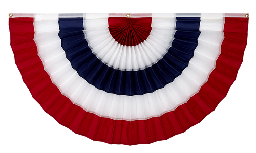 """USA Cotton Flag Bunting - Red/White/Blue/White/Red - 18"""" x 36"""""""
