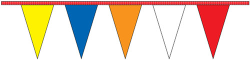 "12"" x 18"" Multi Color Pennant Streamers - 100 Feet"