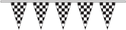 "12"" X 18"" Black & White Checkered Pennant Streamers - 100 Feet"