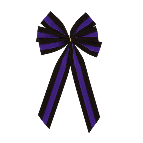 Black & Purple Bow with Black & Purple Tail