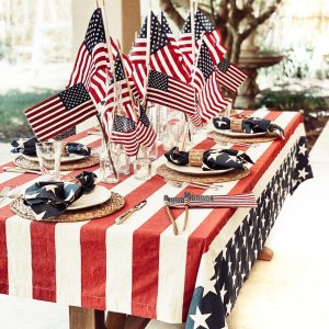 Picnic table with patriotic decorations