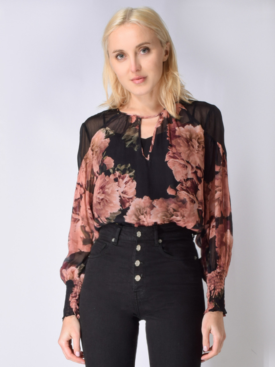 7a3a42523f2 Once Was Mayfair Contrast Shoulder Top in Eden Floral