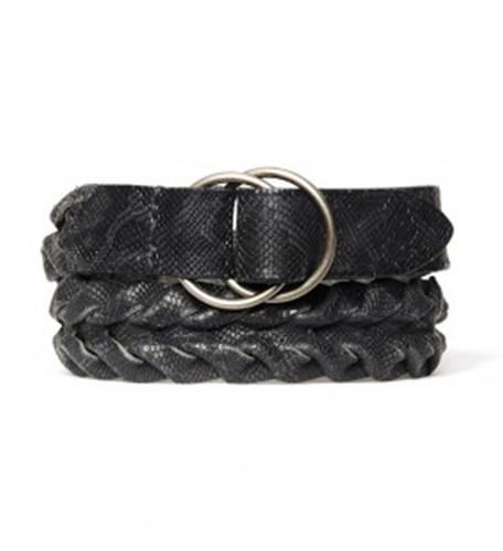 Black Leather Braided Belt